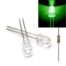 Žalias skaidrus 5mm šviesos diodas su varža