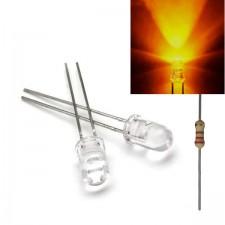 Geltonas skaidrus 5mm šviesos diodas su varža