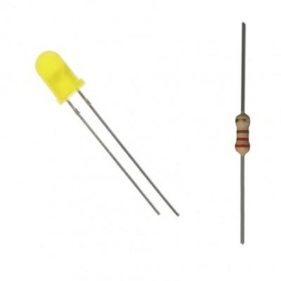 Geltonas matinis 5mm šviesos diodas su varža