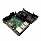 Raspberry PI 2/3 korpusas su aušintuvu (juodas)