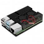 Raspberry Pi 4B aliuminio korpusas su ventiliatoriumi (juodas)