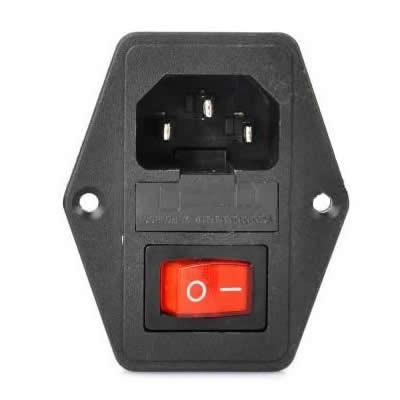 Tinklo lizdas su saugikliu, jungikliu ir indikatoriumi