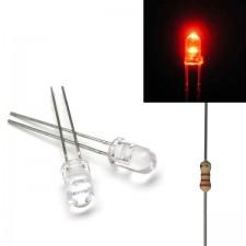 Raudonas skaidrus 5mm šviesos diodas su varža
