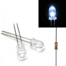 Baltas skaidrus 5mm šviesos diodas su varža